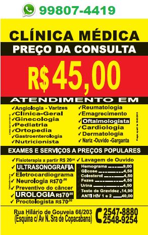 Nariz - Ouvidos - Garganta em Copacabana - R$ 45,00